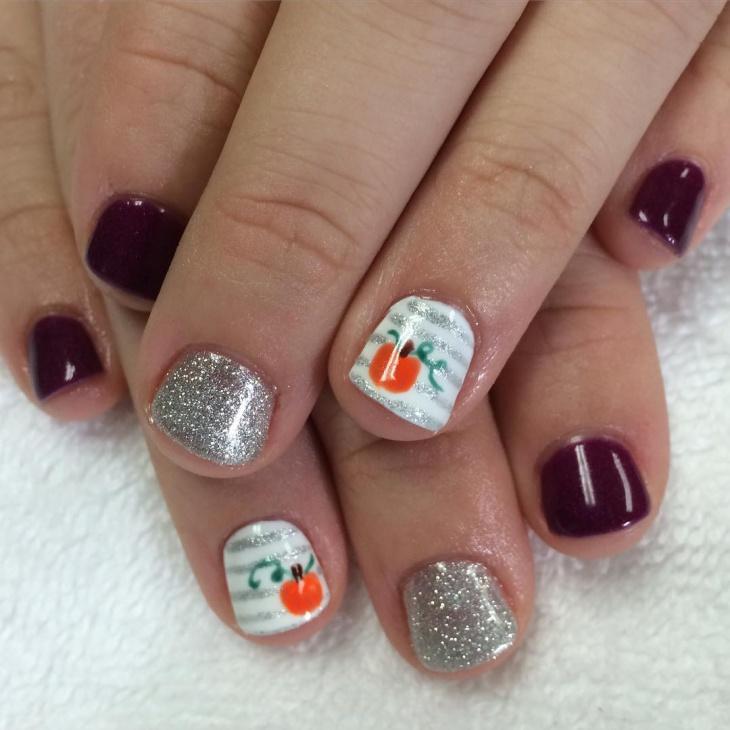 Pumpkin Glitter Nail Design