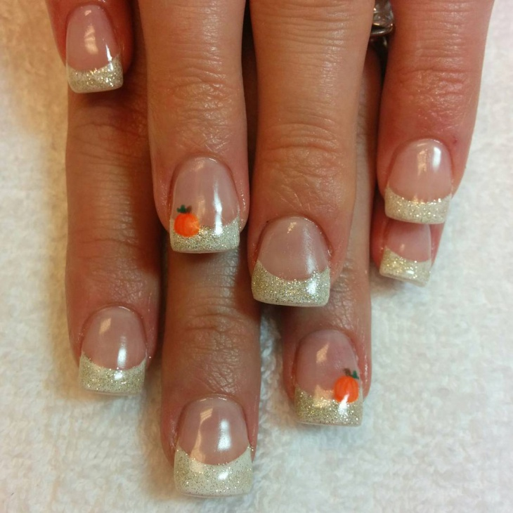 french tip pumpkin nail art