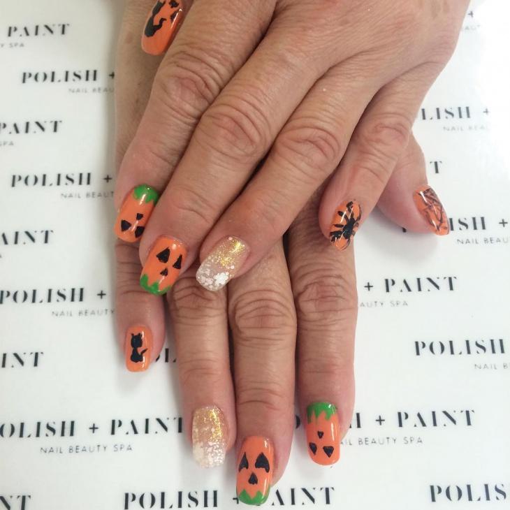 Acrylic Pumpkin Nails