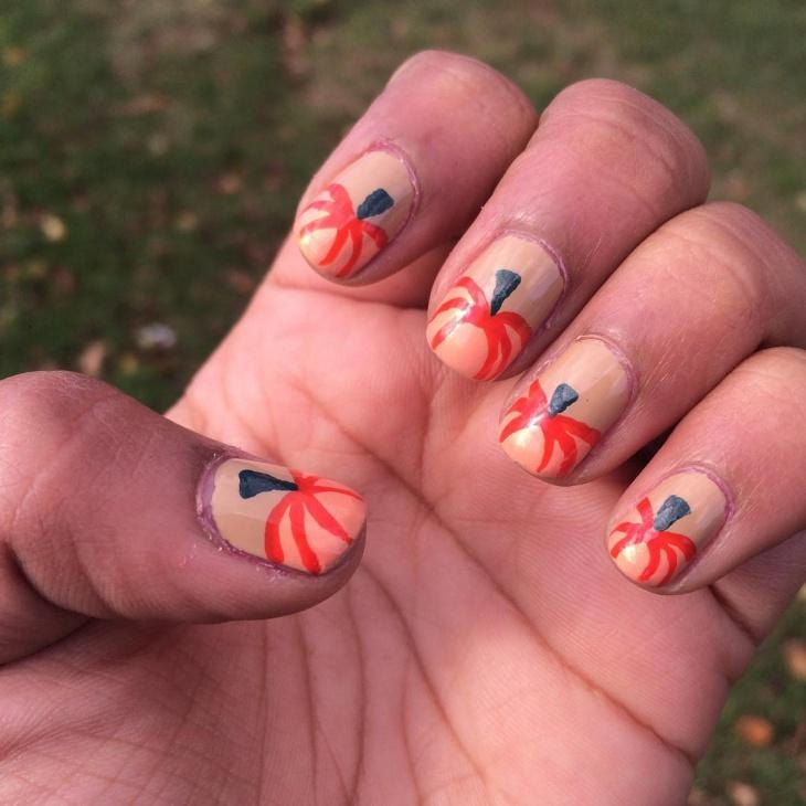 Cute Pumpkin Nail Manicure