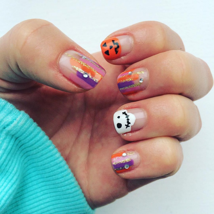 Pumpkin Nails with Rhinestones
