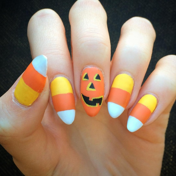 crazy pumpkin nail art idea
