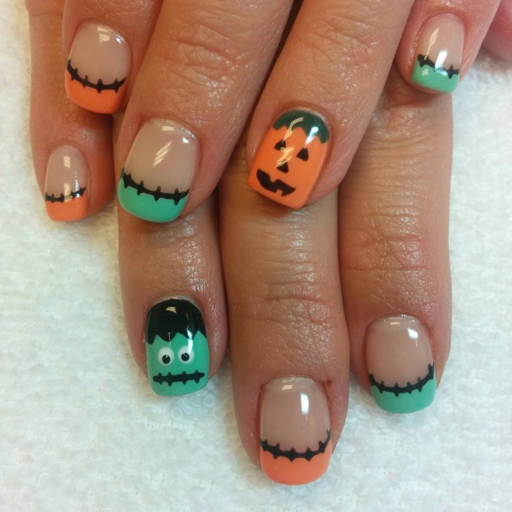 awesome pumpkin nail art
