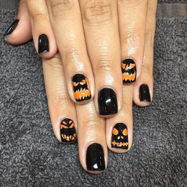 Shellac Pumpkin Nails Idea