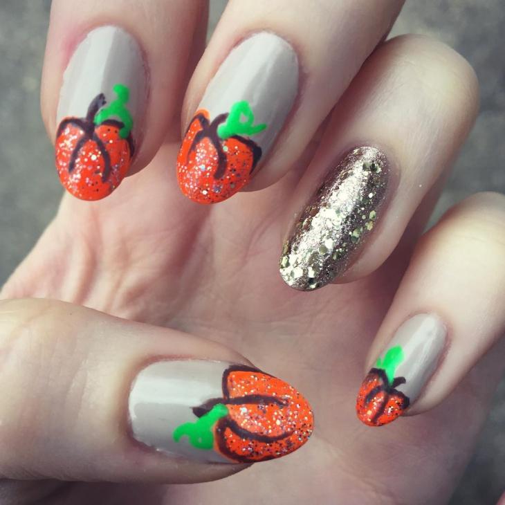 Unique Pumpkin Nail Design Idea