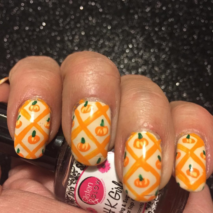 Pumpkin Lattice Nail Design