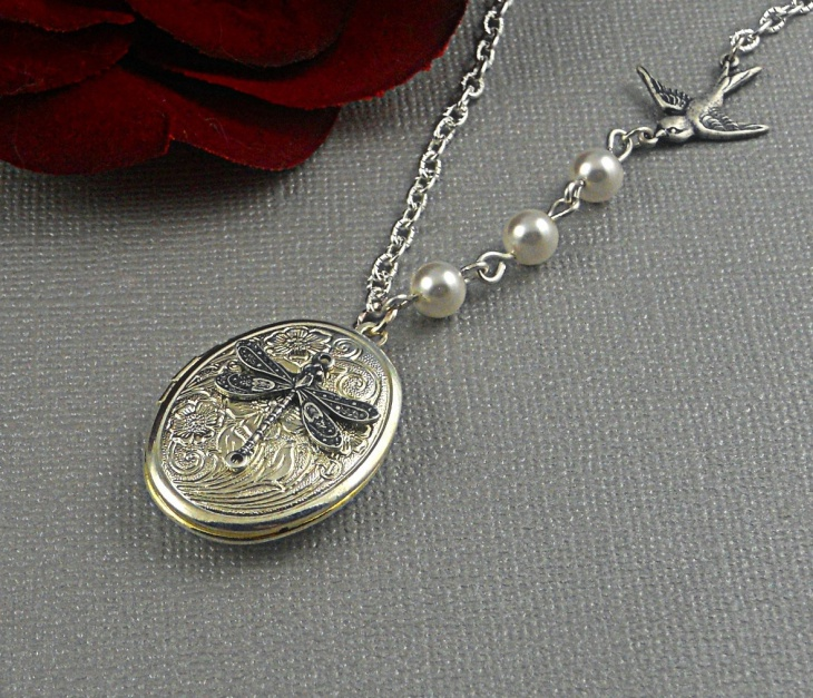 silver dragonfly locket jewelry