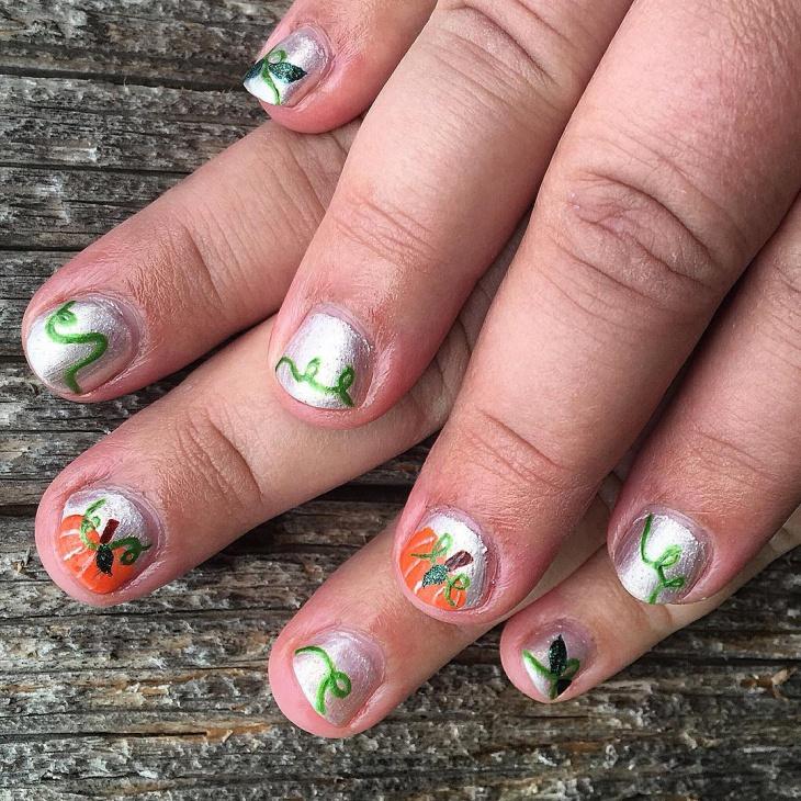 Hand Painted Pumpkin Nail Art