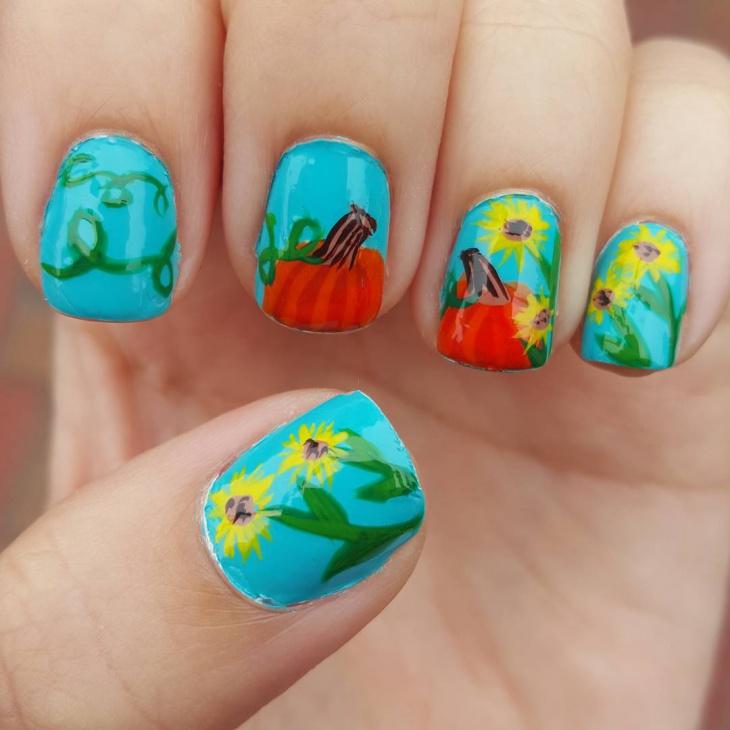 Pretty Pumpkin Nail Art Idea