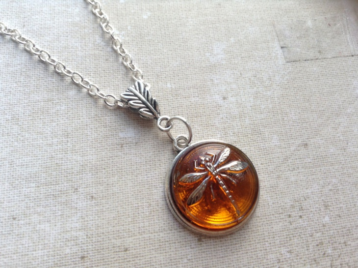amber pendant dragonfly necklace