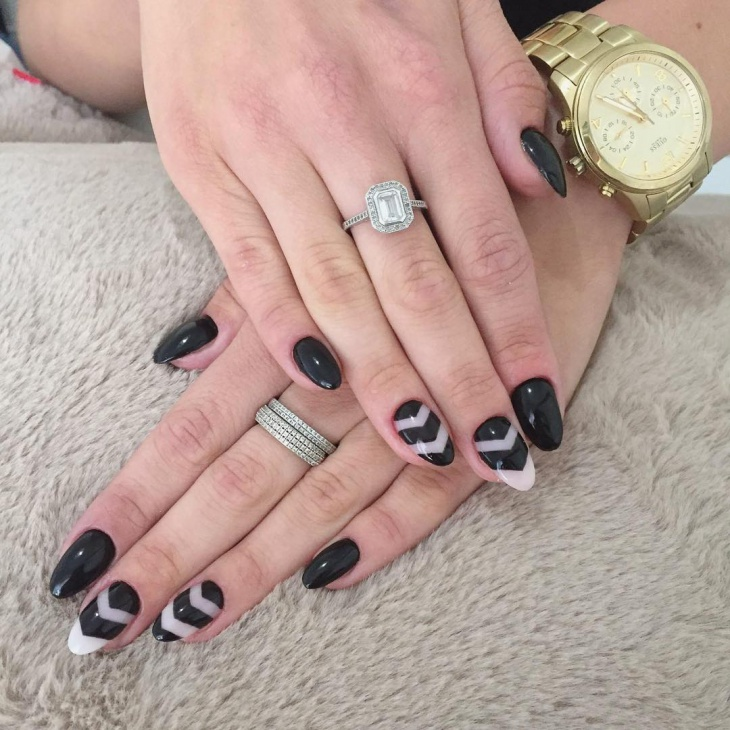 black negative space nails