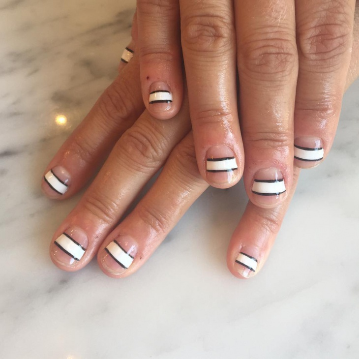 negative space striped nails