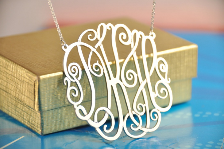 Lace Monogram Necklace