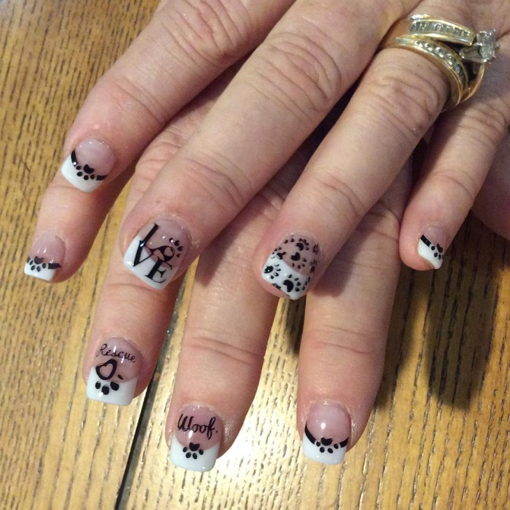 paw print negative space nails