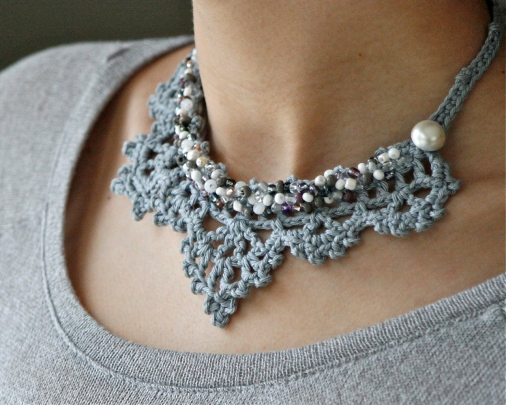Gray Lace Necklace