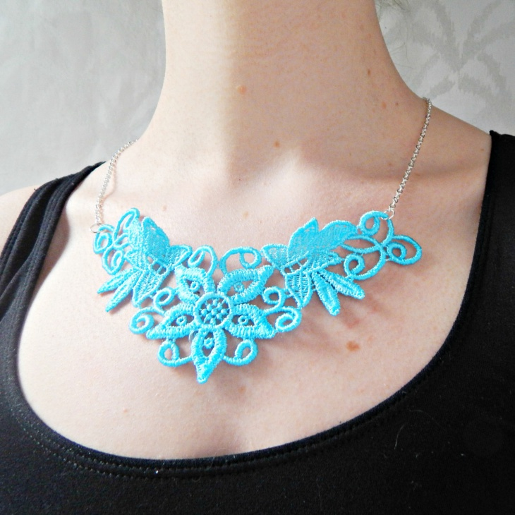 Turquoise Blue Lace Necklace
