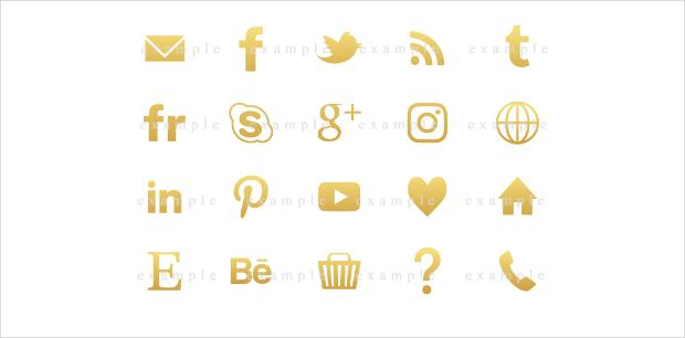 Social media buttons gold foil