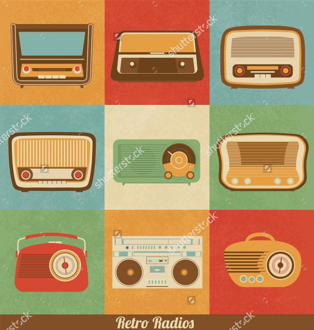 retro style radio icons