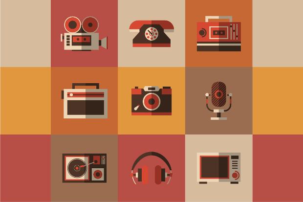flat retro radio icons