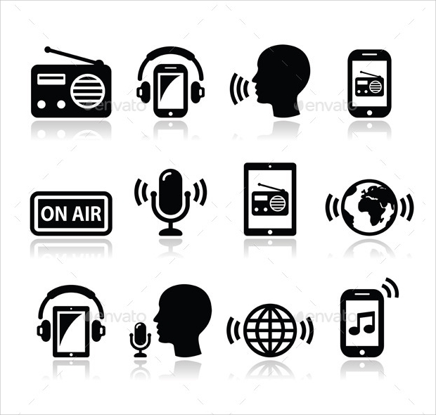 radio and technology icons