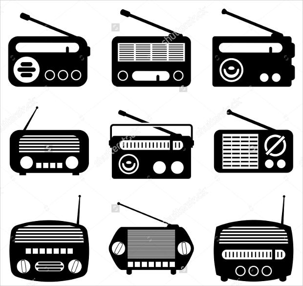 black and white radio icons
