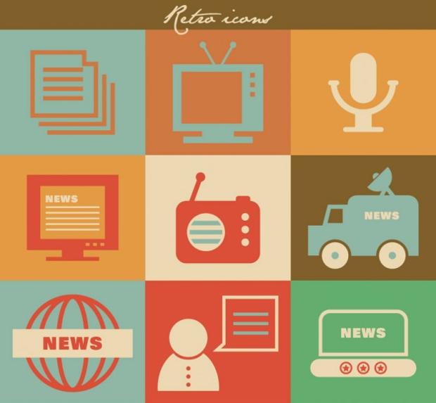 retro mass media radio icons