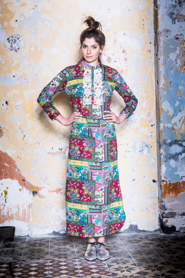 Long Sleeve Tribal Print Dress