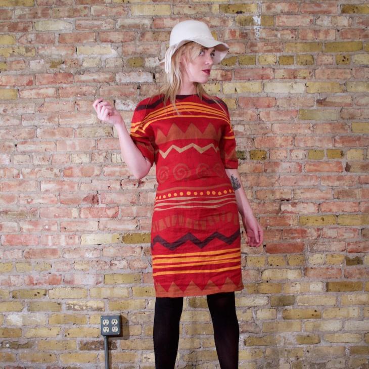 Vintage Tribal Print Dress