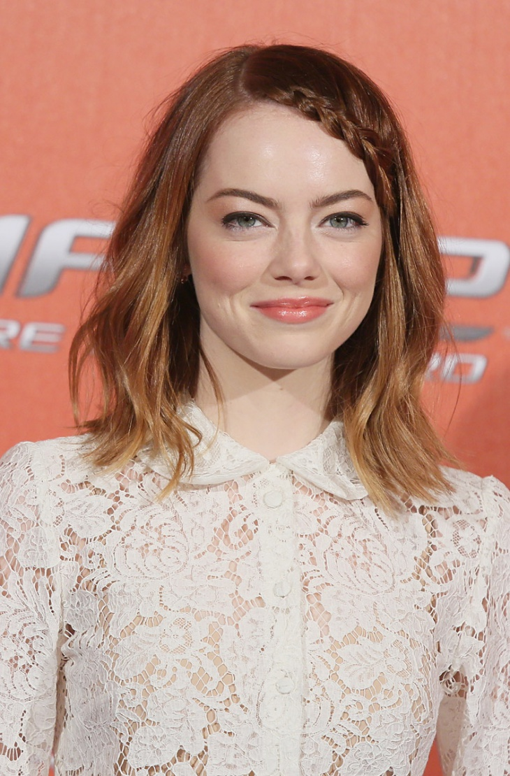 Emma Stone Long Braided Bob Hairstyle