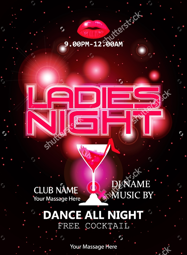 ladies night party celebration flyer