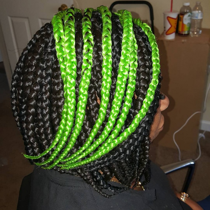 Green and Black Braided Bob Hair