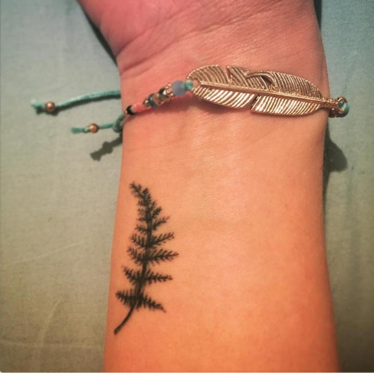 Small Fern Tattoo on Wrist