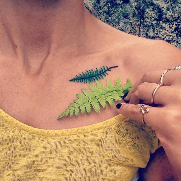 Realistic Fern Tattoo