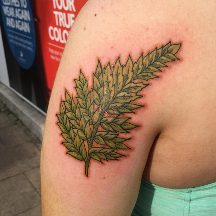 Green Fern Tattoo Idea