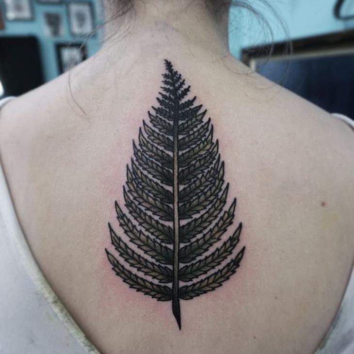 Fern Black Work Tattoo