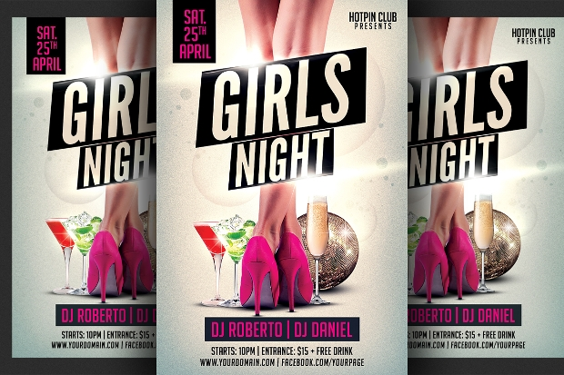 girls lady night party flyer