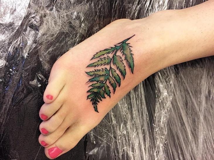Fern Tattoo on Foot