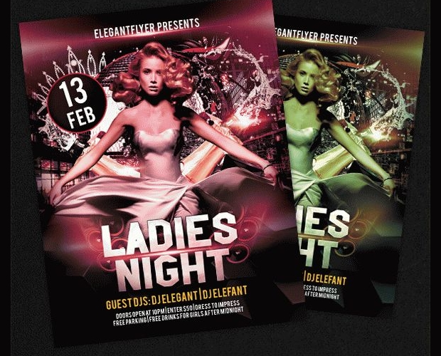 ladies night free club party flyer