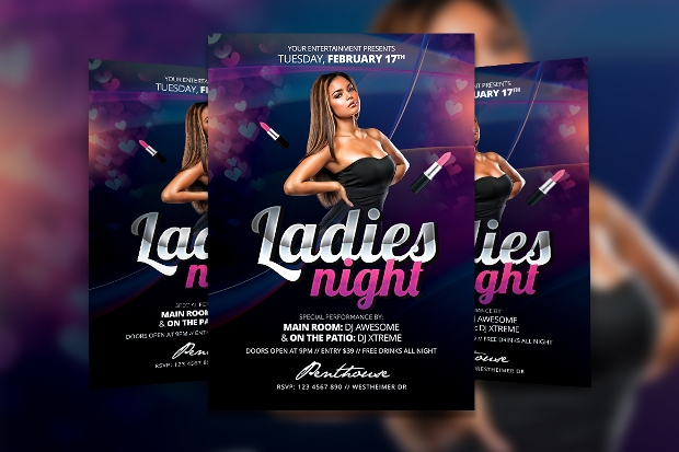 high resolution ladies night flyer