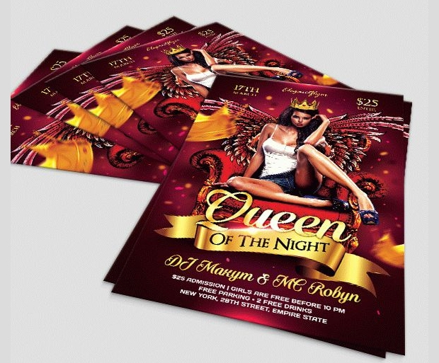 ladies queen night flyer template