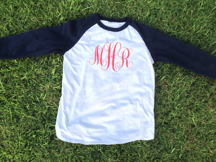 baseball monogram t shirt