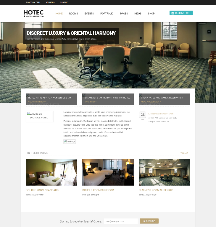 Responsive Hotel Spa & Resort Bootstrap Drupal Theme