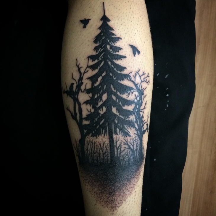 black pine tree tattoo design