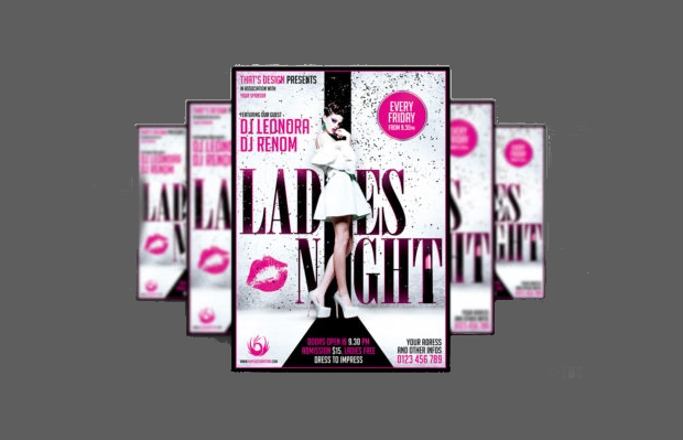 black ladies night psd flyer