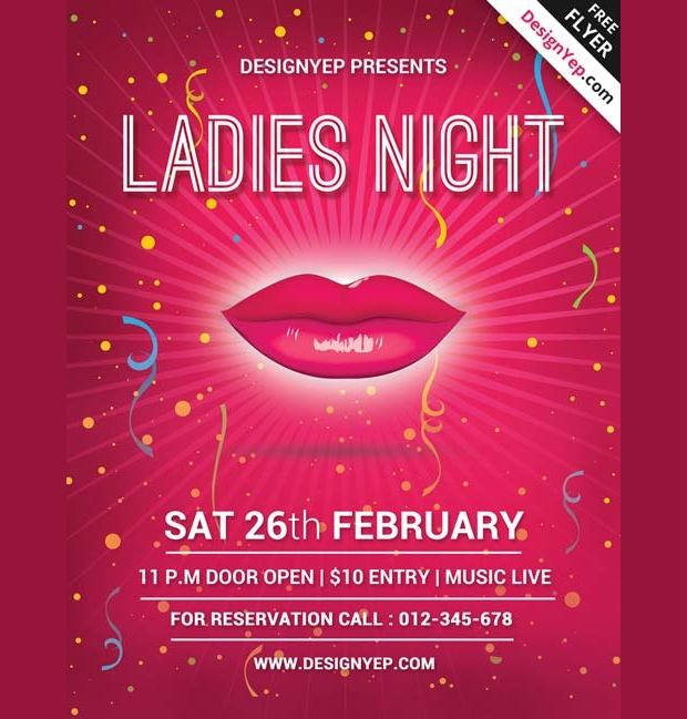 ladies party psd free flyer