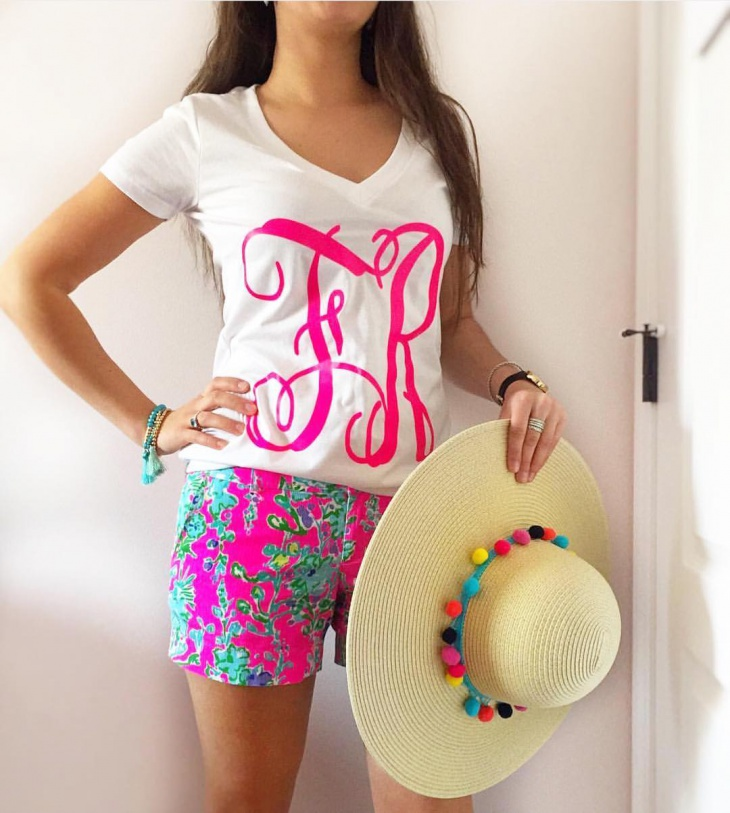 Pink and White Monogram T Shirt