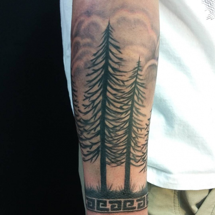 pine tree forest tattoo for men