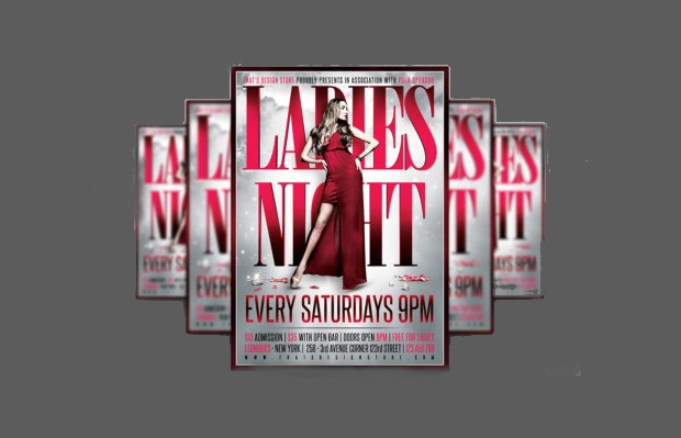 black and red ladies night flyer