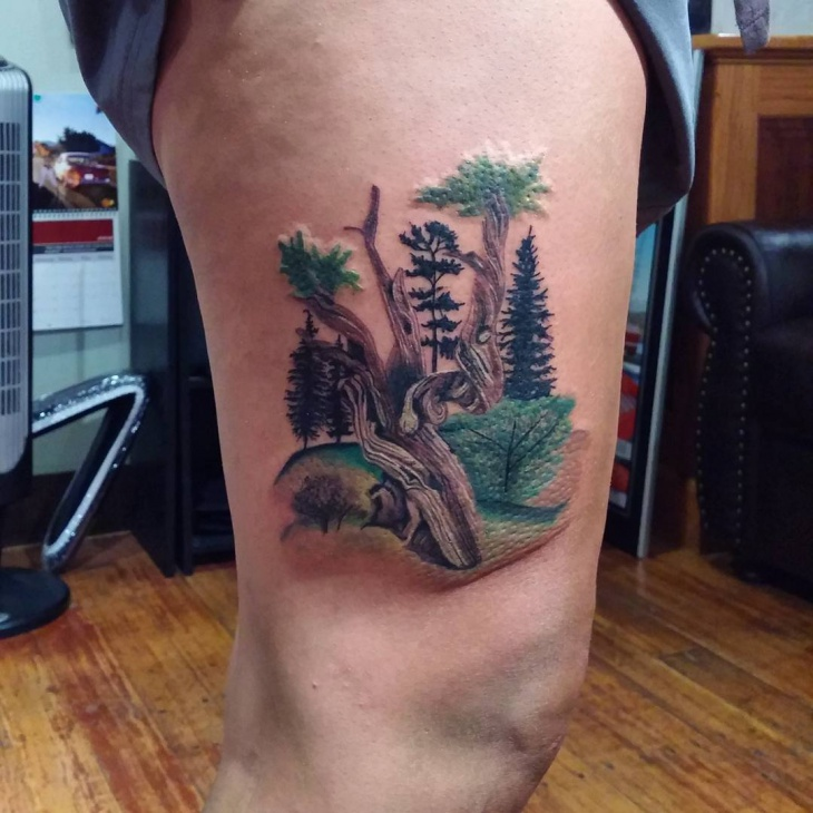 greenary pine tree tattoo