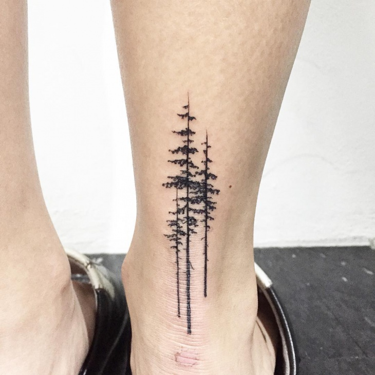 ankle pine tree tattoo
